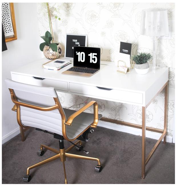 White-And-Gold-Desk-Ikea-Hack